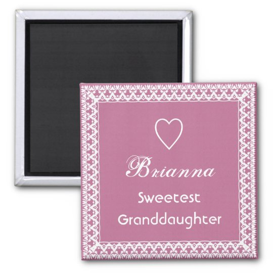 Sweetest Granddaugher Pink and White Lace Square Magnet