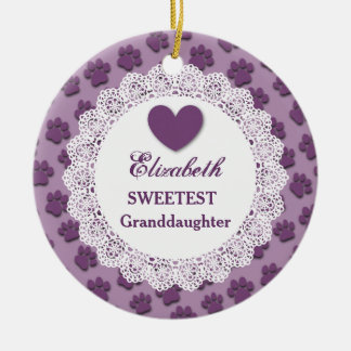 Sweetest Granddaughter Lace Purple Paw Prints V02 Christmas Ornament