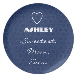 Sweetest Mom Ever Navy Blue Star Pattern Gift Item Dinner Plates