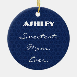 Sweetest Mom Ever Navy Blue Star Pattern Gift Item Round Ceramic Decoration