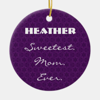 Sweetest Mom Ever Purple Star Pattern Gift Item Round Ceramic Decoration