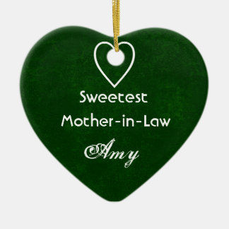 Sweetest Mother-in-Law with Heart HUNTER GREEN Christmas Ornament