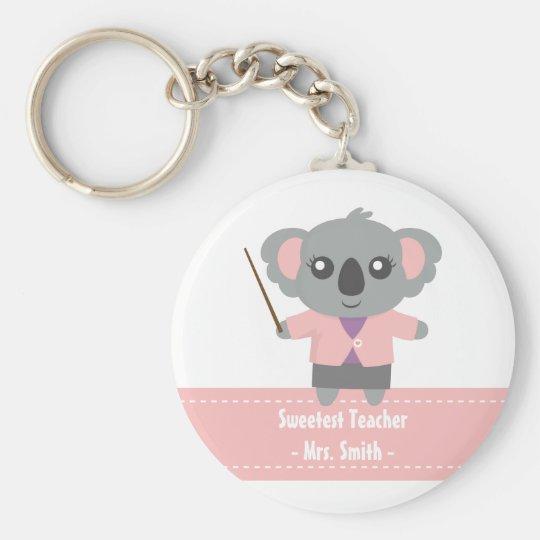 Sweetest Teacher, Cute Koala Bear, Appreciation Basic Round Button Key Ring