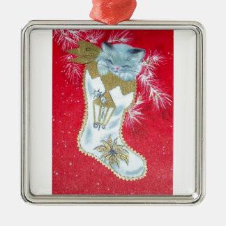 Sweetest Vintage Christmas Kitten Christmas Ornament