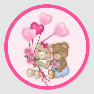 Sweetheart Bears Stickers Round Sticker