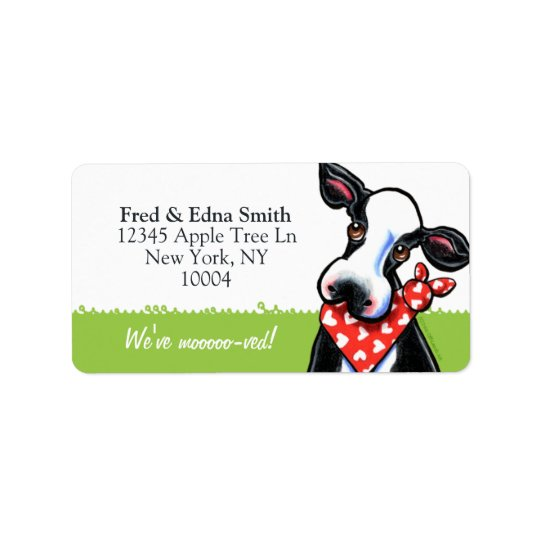 Sweetheart Cow Moved Custom Tagline Address Label