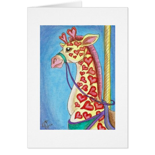 Sweetheart Giraffe Valentine's Carousel Animal Card