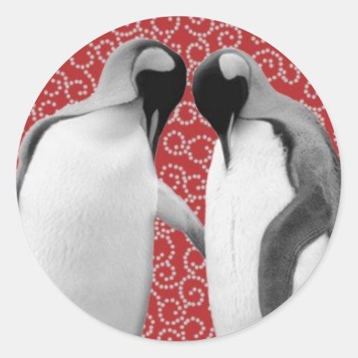 Sweetheart Penguins Round Sticker