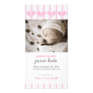 """Sweetheart Pink """"BABY"""" Birth Announcement Photo Greeting Card"""