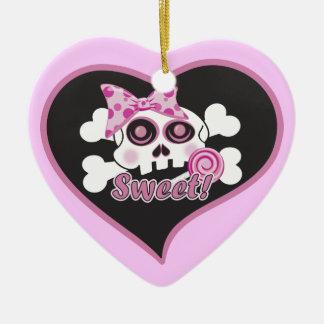 Sweetheart Skull Double-Sided Heart Ceramic Christmas Ornament