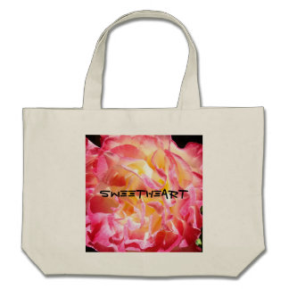 Sweetheart Tote Bags Pink Rose Valentines Pink