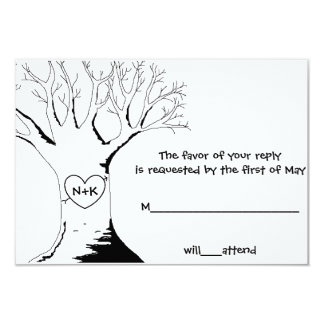 """Sweetheart Tree"" Response/Reply Cards 9 Cm X 13 Cm Invitation Card"