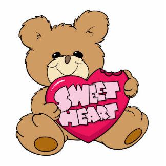 sweetheart valentine candy cute teddy bear design standing photo sculpture