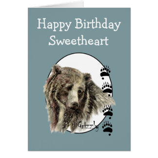 Sweetheart Wild Thing Birthday Grizzly Bear Animal Greeting Card