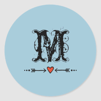 Sweethearts and Arrows Blue Monogram Round Sticker