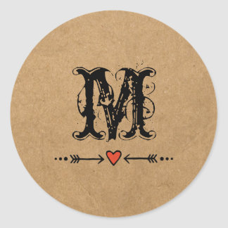 Sweethearts and Arrows Monogram Round Sticker