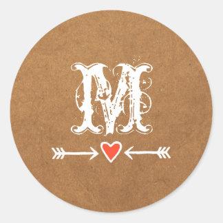 Sweethearts and Arrows White Monogram Round Sticker