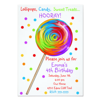 Sweetie Pop Lollipop Birthday Invitations