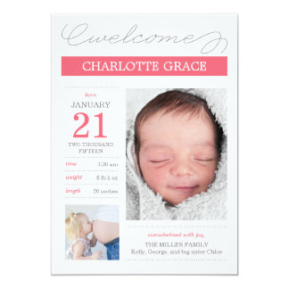 Sweetly Documented Birth Announcements - Pink