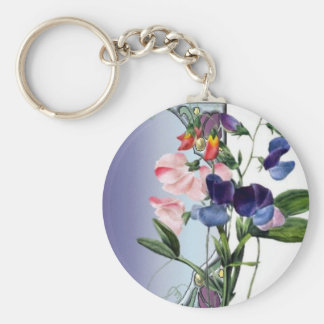 Sweetpea flowers key ring