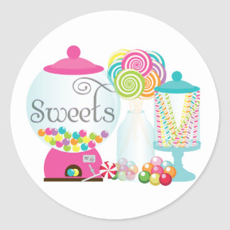 Sweets for Dessert Table Treats Bubblegum Rainbow Round Sticker