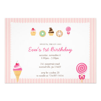 Sweets Treats First Birthdays Custom Announcements