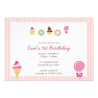 Sweets Treats First Birthdays Custom Announcements