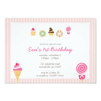 Sweets, Treats & First Birthdays Custom Announcements
