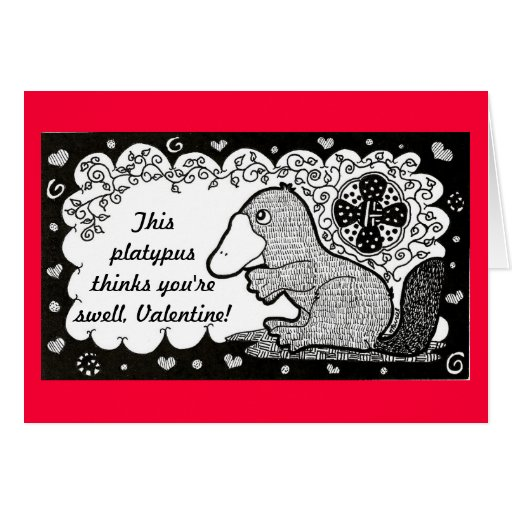 Swell Platypus Valentine's Day Card