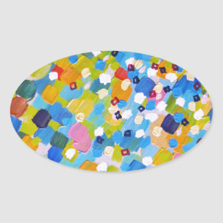 SWEPT AWAY 1 - Bright Colorful Rainbow Blue Ocean Oval Sticker