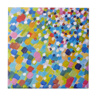 SWEPT AWAY 1 - Bright Colorful Rainbow Blue Ocean Small Square Tile