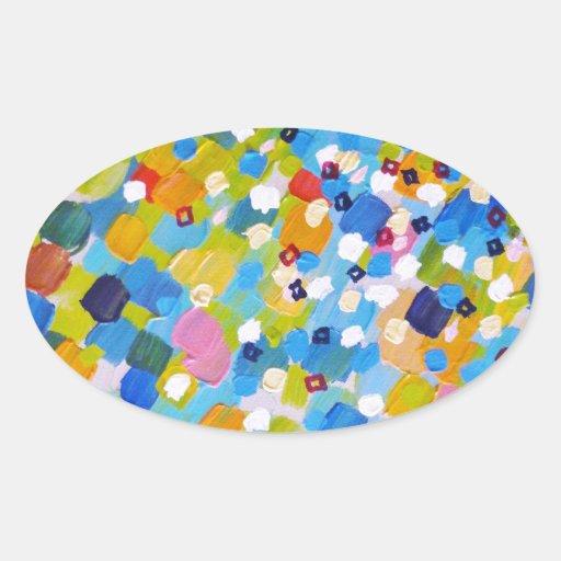 SWEPT AWAY 1 - Bright Colorful Rainbow Blue Ocean Sticker