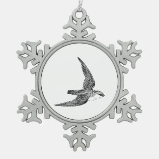 Swift Bird Illustration Snowflake Pewter Christmas Ornament