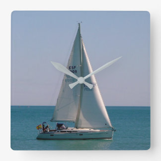 Swift-sailing boat in the Mediterranean Square Wall Clock