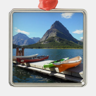Swiftcurrent Lake Boats- Glacier National Park Silver-Colored Square Decoration