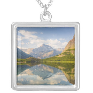 Swiftcurrent Lake with Many Glacier hotel and Silver Plated Necklace