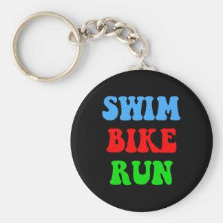 Swim Bike Run Basic Round Button Key Ring