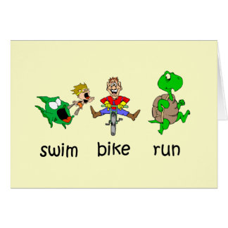 Swim Bike Run Greeting Card
