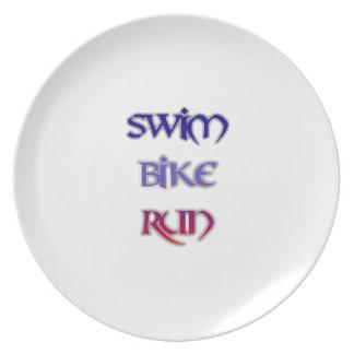 Swim Bike Run Dinner Plate