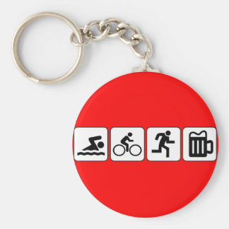 Swim Bike Run Drink Basic Round Button Key Ring