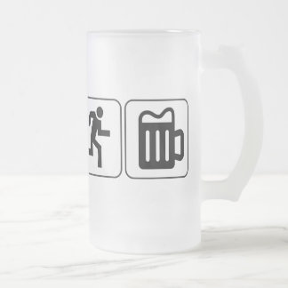 Swim Bike Run Drink Frosted Glass Beer Mug