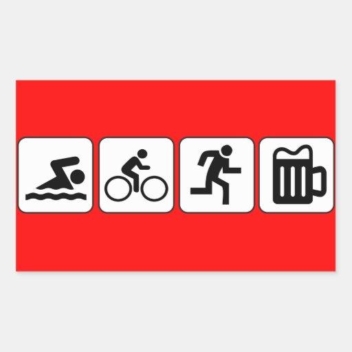 Swim Bike Run Drink Rectangular Sticker