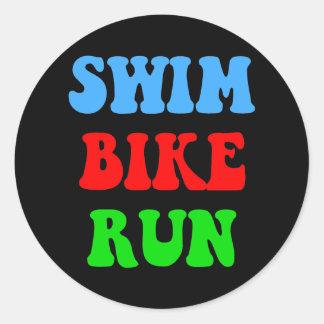 Swim Bike Run Round Sticker