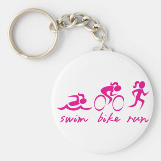 Swim Bike Run Tri Girl Basic Round Button Key Ring