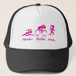 Swim Bike Run Tri Girl Cap