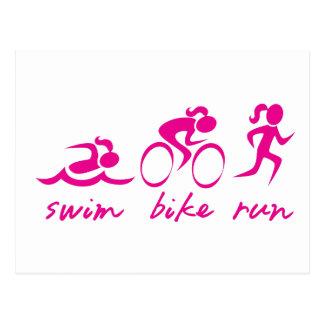 Swim Bike Run Tri Girl Postcard