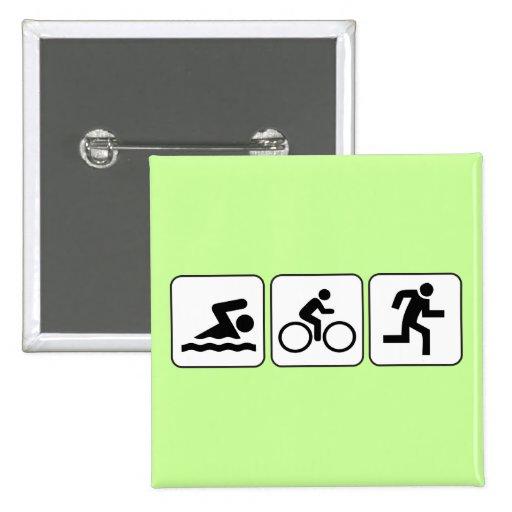 Swim, Bike, Run - Triathlon 15 Cm Square Badge
