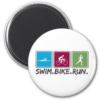 swim bike run (triathlon) 6 cm round magnet