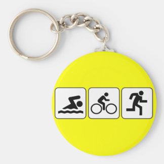 Swim, Bike, Run - Triathlon Basic Round Button Key Ring