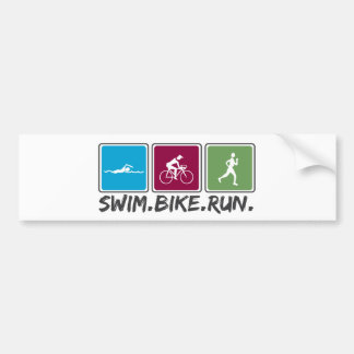 swim bike run (triathlon) bumper sticker